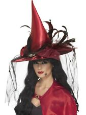 Witch Hat Deep Red Witches Hat Ladies Deluxe Halloween Fancy Dress