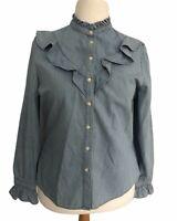 Denim Co Womens Blouse Shirt Sz UK18 Light Blue High Neck Frill Long Sleeve NEW