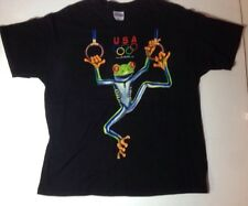 Vintage USA Olympics XL Black T-Shirt Gymnastics Red Eyed Tree Frog Rings
