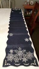 "Winter Decor Snowflake Accent Blue Table Runner 70"" Length x 13"" Wide"