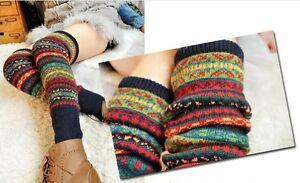 Winter Multicoloured Wool Knitted Socks Women Leg Warmer Gifts Crochet Leggings