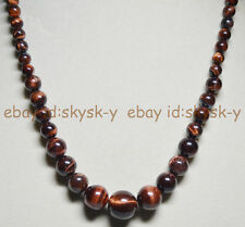 lONG 24INCH NATURAL 6-14MM RED GENUINE TIGER'S EYE GEM STONE ROUND BEAD NECKLACE