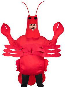 Adults Red Lobster Fancy Dress Costume Seaside Summer Animal Crab Mens Women