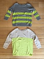 2 GAP Womens Sz XS Multicolor 3/4 Sleeve Colorblock Cashmere Striped Top Sweater