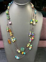 "Vintage Boheniman Multi Color Glass Extra Long 100"" Single Strand Necklace Boho"