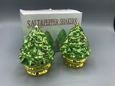Metallic Ceramic Green Gold Christmas Tree Salt And Pepper Shakers W / Box