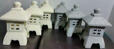 "Lot of (6) Grey & Beige 10"" Pagoda Lantern Statues Garden Table Art Yard Decor"