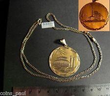Gold Handmade pendant Greece Akropolis & Ioannina + chain 14k both not scrap