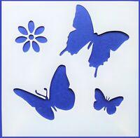 Flexible Stencil *BUTTERFLIES & FLOWER* Garden Butterfly Card Making 10cm x 10cm