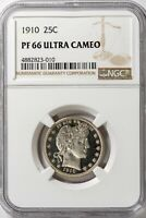 1910 25C Barber NGC PF66 PR66 Ultra Cameo Proof Quarter *Rare* Registry Quality