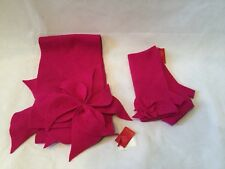 ARIANE LESPIRE HANDMADE IN BELGIUM FUCHSIA FINGERLESS GLOVES W/ FLOWER ACCENT-OS