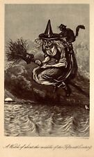 Antique Witch and Black Cat Print Parchment Paper Pagan Witchcraft Halloween Art