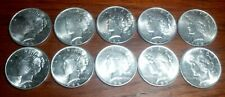 Lot Of 10 Uncirculated Peace Silver Dollars 1/2 Roll 10 Coins Random Dates