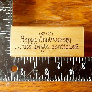 Art Impressions Happy Anniversary the magic continues Wood Rubber Stamp