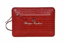 Laptop Travel Hand Bag Good Quality Real Red Crocodile Print Leather Pouch 1941