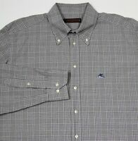Etro Black/White Plaid Logo Button-Up Dress Shirt (44) 17.5