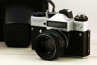 "ZENIT ET RARE USSR (Soviet) SLR film camera w/s lens ""Helios 44-2"" working"