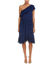 Parker One Shoulder Ruffle Blue Dress Cocktail Party NWT $398 Small