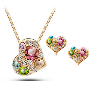 18K Rose Gold Plated Multi Color Necklace Earrings Pendant Fashion Jewelry Set