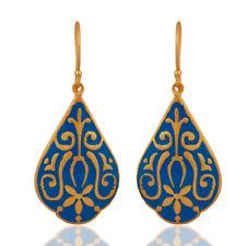 18k Yellow Gold Plated Brass Ethnic Designer Enamel Dangle Earrings Jewelry