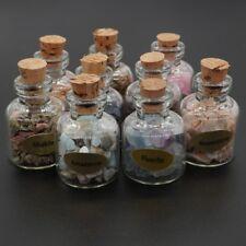 1 Set 9 Glass Wish Bottle Natural Gemstons Crystal Lucky Wishing Bottle Decor