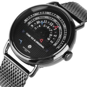 TOMORO Black/Rose Gold/Gold Steel Band 3ATM Men Janpan Quartz Wrist Watch Gift