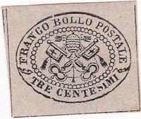 STATO PONTIFICIO  3 c. 1867 non dentellato nuovo con gomma con certificato