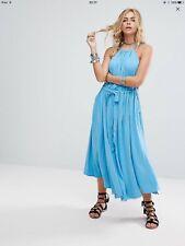 Free People NBW Women's Sleeveless Simple Maxi Blue Rain Size XS RRP £145