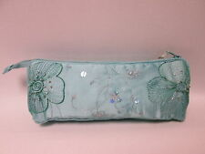 Blue Beaded Cosmetic Makeup Bag Pencil Pen Brush Case Storage Pouch Purse #2F7