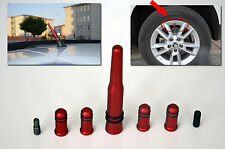 SAAB SERIES RED ANTENNA WITH 4 TIRE VALVE COVERS COMPATIBLE FOR FM/AM RADIO