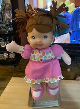 Baby's First Lil Talker Doll Brunette Hair Blue Eyes Goldberger Lovey Sings Soft