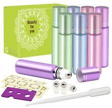 8 Pcs 10ml Glass Roll On Bottle Stainless Steel Roller Ball Essential Oil Opener