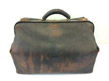 Antique Old Leather Brass K 1913 Doctors Travel Bag Case Stitched Brown