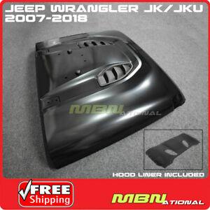 For Jeep JK Wrangler 07-18 Steel Front Rubicon 10th Anniversary Hard Rock Hood