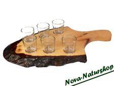 Bavarois alcool Brett à partir d'une écorces Vitre, Bois Planche avec 6 Stamperl