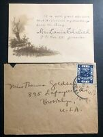 1920 Jerusalem Palestine War Chest Fund Cover To Brooklyn NY USA W Postcard
