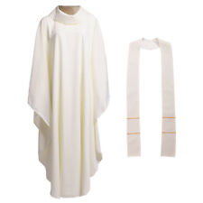 White Catholic Church Priest Chasuble Vestments Clegy Robe Apparel Cowl Collar
