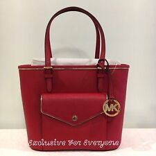 NWT Michael Kors Saffiano Frame Medium Pocket Tote Red/Gold Leather Bag $228