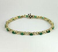 "Estate Emerald & Diamond Wave Oval 14k Gold FN 7.25"" Tennis Bracelet 925 Silver"
