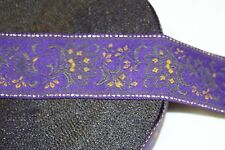 1 yard Eggplant Purple Gold JACQUARD woven sewing ribbon Trim 2""