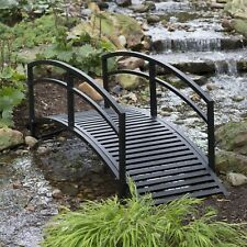 8 ft Metal Garden Bridge With Arched Rails in Black Powder Coated Steel