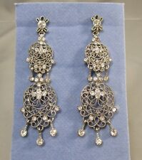 "AVON Silver Tone Clear Rhinestones 2 3/4"" Long Pierced earrings #4K"