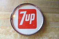 original 7up soda pop company glass front,metal soda machine sign advertising