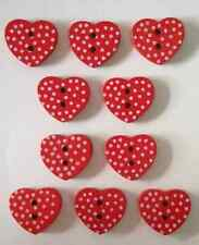 10 Wooden Flatback Buttons Red Hearts 2 Hole Spots 15mm Sewing Craft UK SELLER