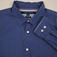 Tommy Hilfiger Men's Button Up Shirt Size Large Custom Fit Polka Dot Blue Red