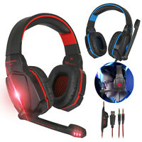 For Xbox One PS4 Nintendo Switch 3.5mm LED Gaming Headset Mic Stereo Headphone
