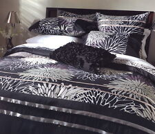 ASTRID Midnight Black Beige White Printed DOUBLE Quilt Duvet Doona Cover Set NEW