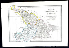 Cavan Westmeath & Meath Ireland antique map C 1840 Halls Original Colour Good