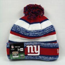 New Era Cap Men's NFL NY Giants Snowfall Stripe Winter Knit Bobble Beanie Hat