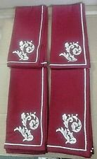 """WILLIAMS-SONOMA HOLIDAY SCROLL EMBROIDERED RED NAPKINS 20"""" X 20"""" SET OF 4  - NWT"""
